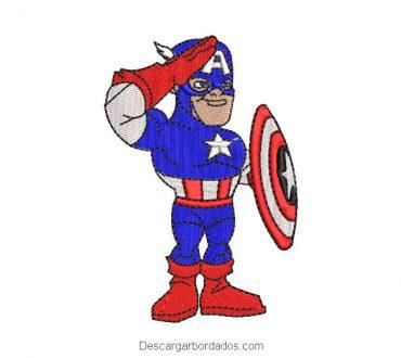 Diseño bordado de capitan america infantil