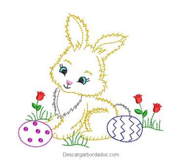 Diseño bordado de conejo con rosas