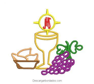 Diseño bordado de copa de caliz con uvas