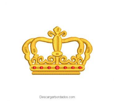 Diseño bordado de corona de rey para máquina