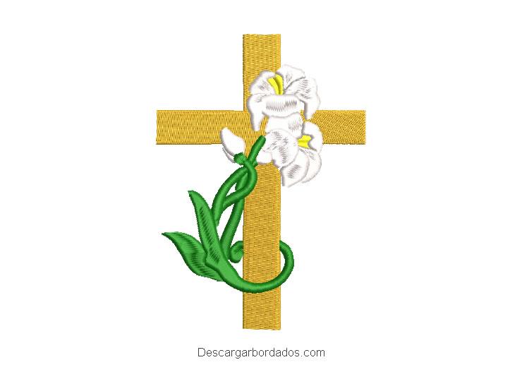 Diseño bordado de cruz adornado con plantas