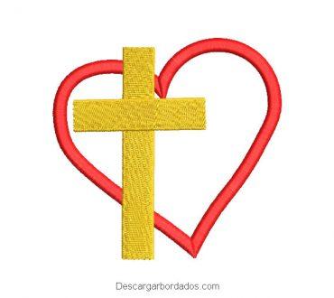 Diseño bordado de cruz con corazón