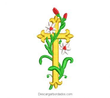 Diseño bordado de cruz con ramas y flores