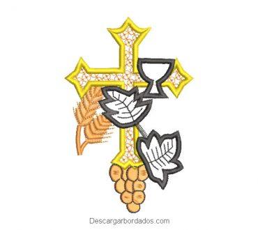Diseño bordado de cruz para bautizo