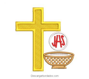 Diseño bordado de cruz y letra JHS con copa