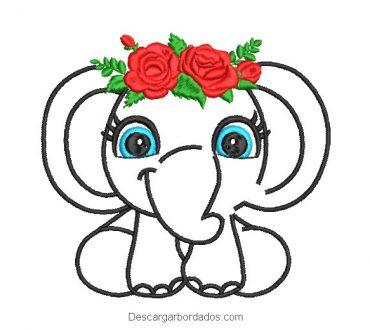 Diseño bordado de elefante con rosas