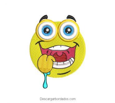 Diseño bordado de emoji sonriente para máquina