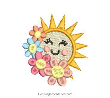 Diseño bordado de estrella con flores de colores