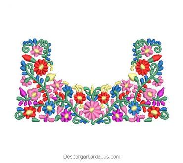 Diseño bordado de flores brillantes de colores