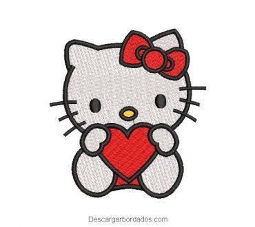 Diseño bordado de hello kitty con corazón
