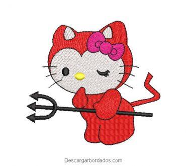 Diseño bordado de hello kitty con espada