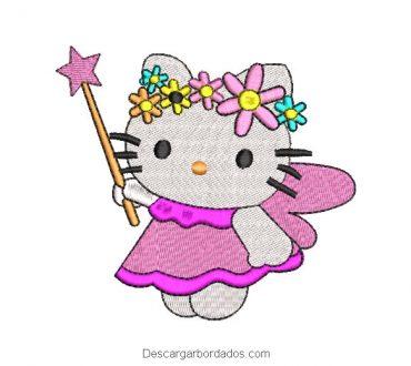 Diseño bordado de hello kitty con varita magica