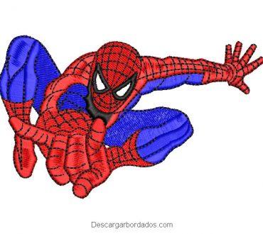 Diseño bordado de hombre araña spiderman volando