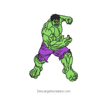 Diseño bordado de hombre hulk para máquina