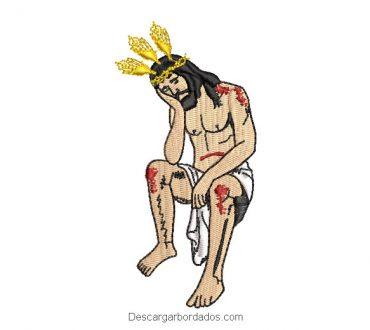 Diseño bordado de jesús pensativo