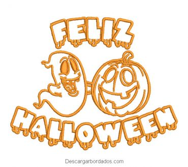 Diseño bordado de letra feliz halloween