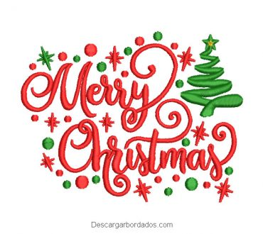 Diseño bordado de letra merry christmas con árbol