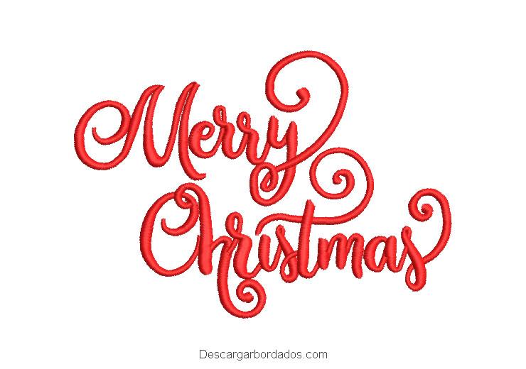 Diseño bordado de letra merry christmas