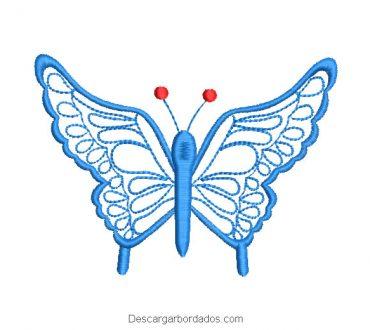 Diseño bordado de mariposa azul