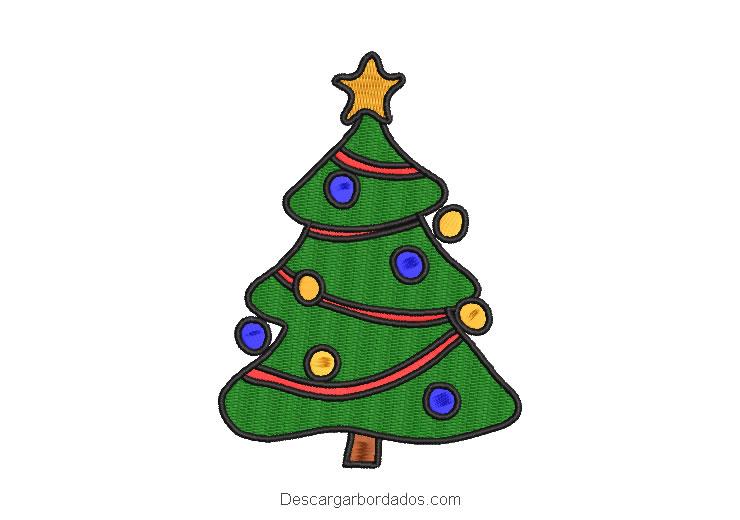Diseño bordado de navidad árbol de pino