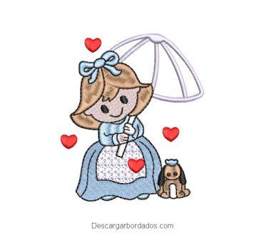 Diseño bordado de niña con paraguas y mascota