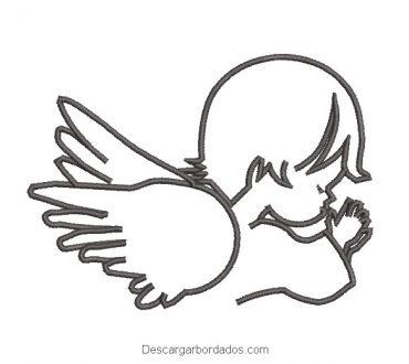 Diseño bordado de niño angel rezando