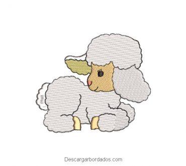 Diseño bordado de oveja blanca