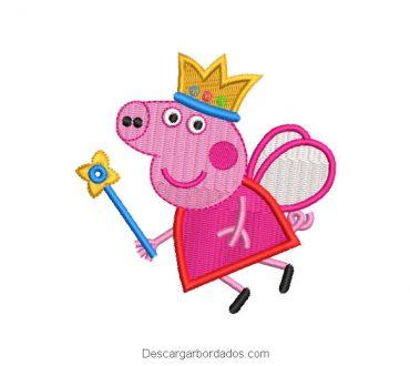 Diseño bordado de peppa pig princesa