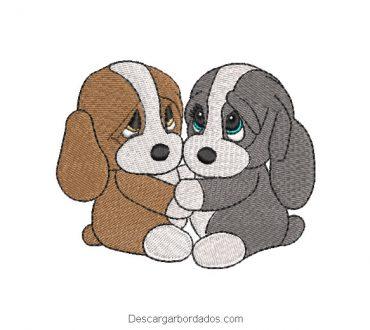 Diseño bordado de perritos enamorados