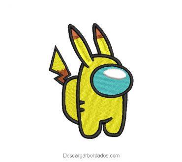 Diseño bordado de pikachu among us
