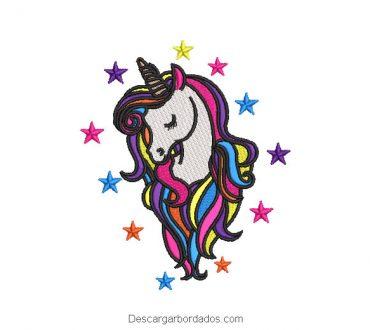 Diseño bordado de pony unicornio con estrellas