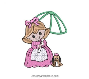Diseño bordado de princesa con mascota y paragua