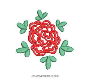 Diseño bordado de rosa con decoración de hojas