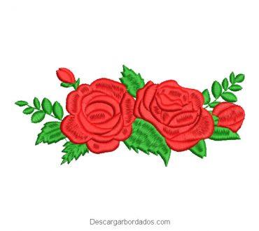 Diseño bordado de rosas bonitas con ramas verdes
