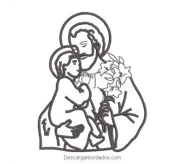 Diseño bordado de santo con niño y flores