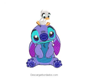 Diseño bordado de stitch con pato