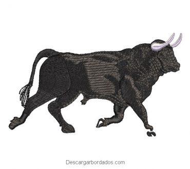 Diseño bordado de toro negro para máquina