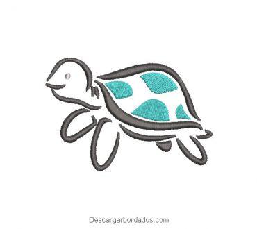 Diseño bordado de tortuga infantil