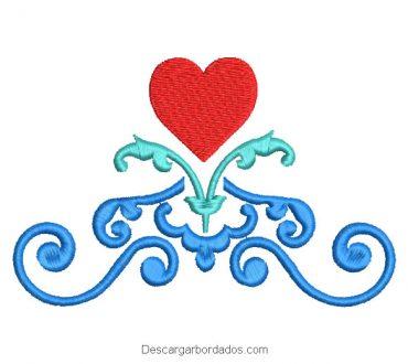 Diseño bordado de tribal con corazón