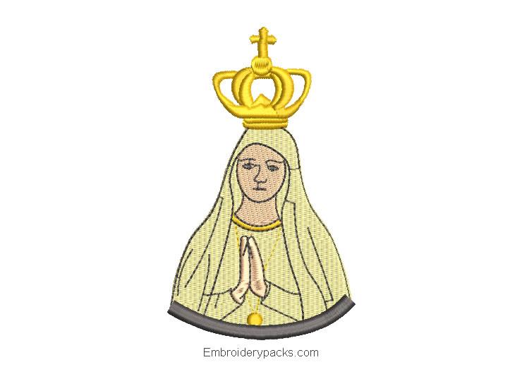 Diseño bordado de virgen maria rezando