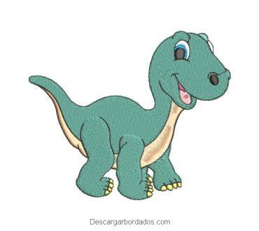 Diseño bordado dinosaurio verde para máquina