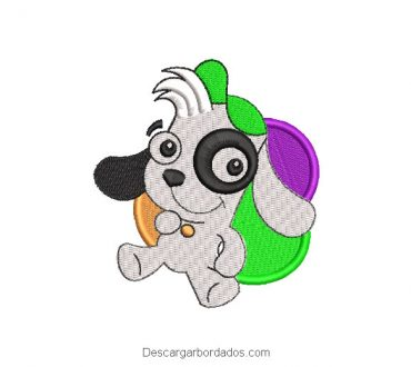 Diseño bordado doki con globos de cumpleaños