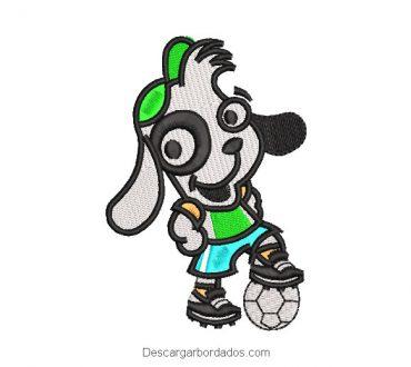 Diseño bordado doki jugando fútbol