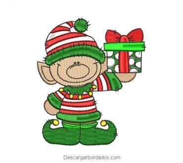 Diseño bordado duende de navidad