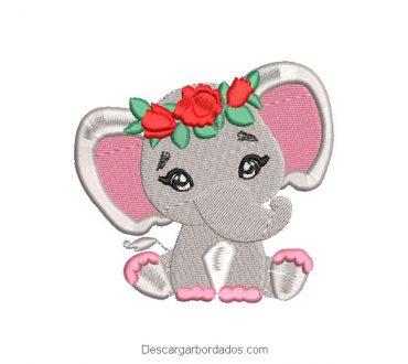 Diseño bordado elefante bebé con corona de rosas