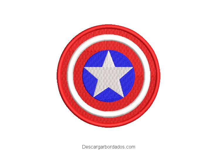 Diseño bordado escudo de capitán américa