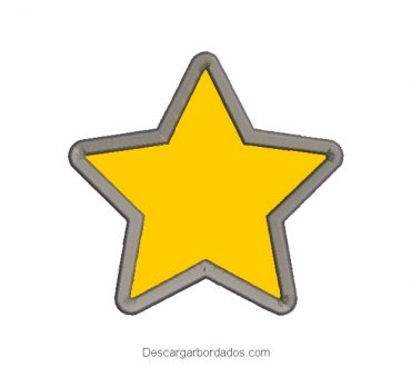 Diseño bordado estrella 5 puntos con aplicación