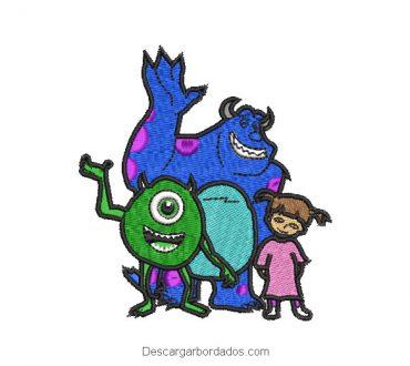 Diseño bordado familia monsters inc