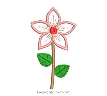 Diseño bordado flor con hojas verdes