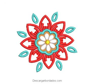 Diseño bordado flores de colores con decoración